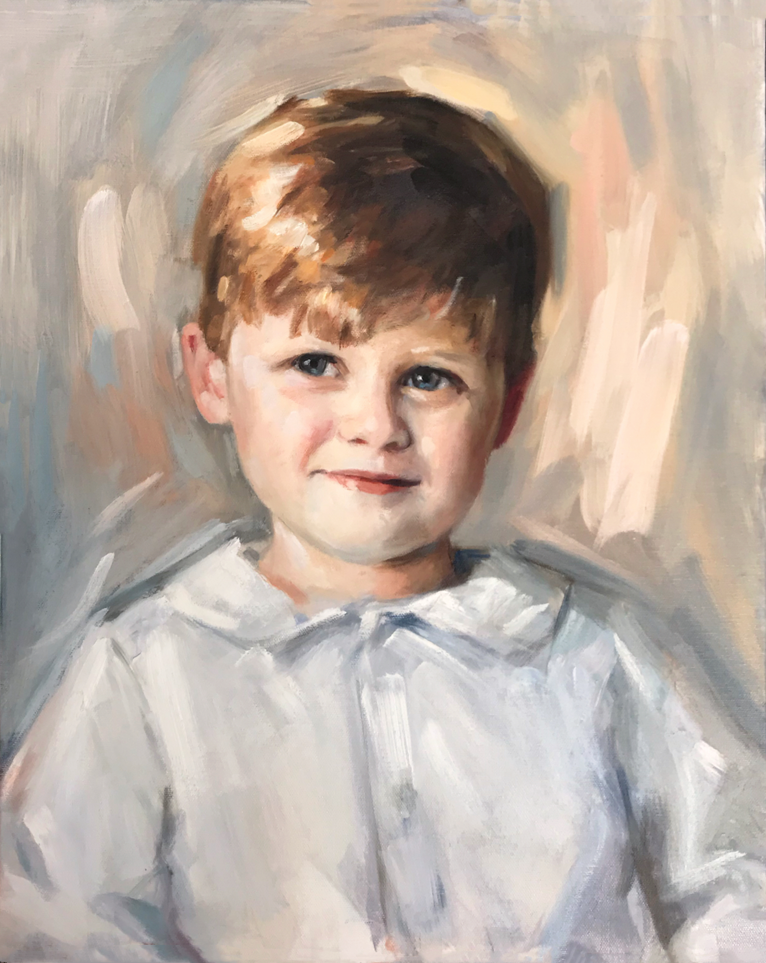 Painterly Head & Shoulders Portrait of a Young Boy